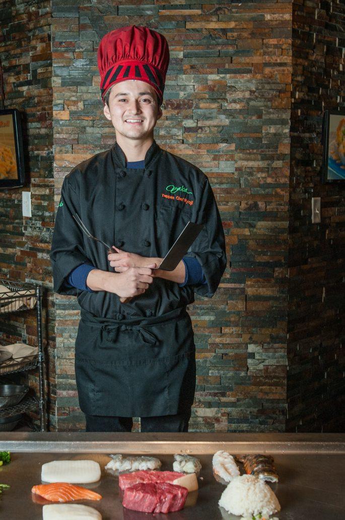 Osaka Japanese Bistro teppan yaki grill master chef at work
