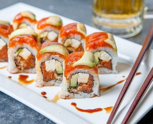 Kai's Special sushi roll on plate from Osaka Japanese Bistro in Las Vegas