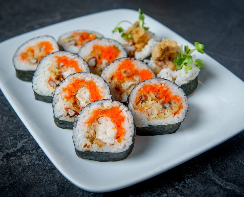 8 piece futomaki sushi roll on a plate