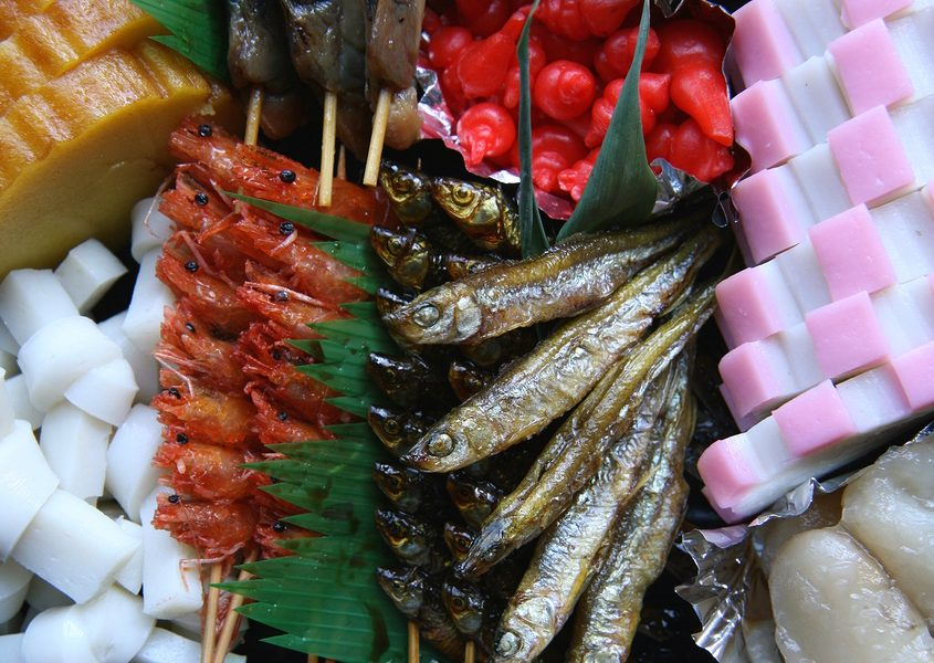 A traditional mix of Japanese New Year's foods called Osechi Ryori.