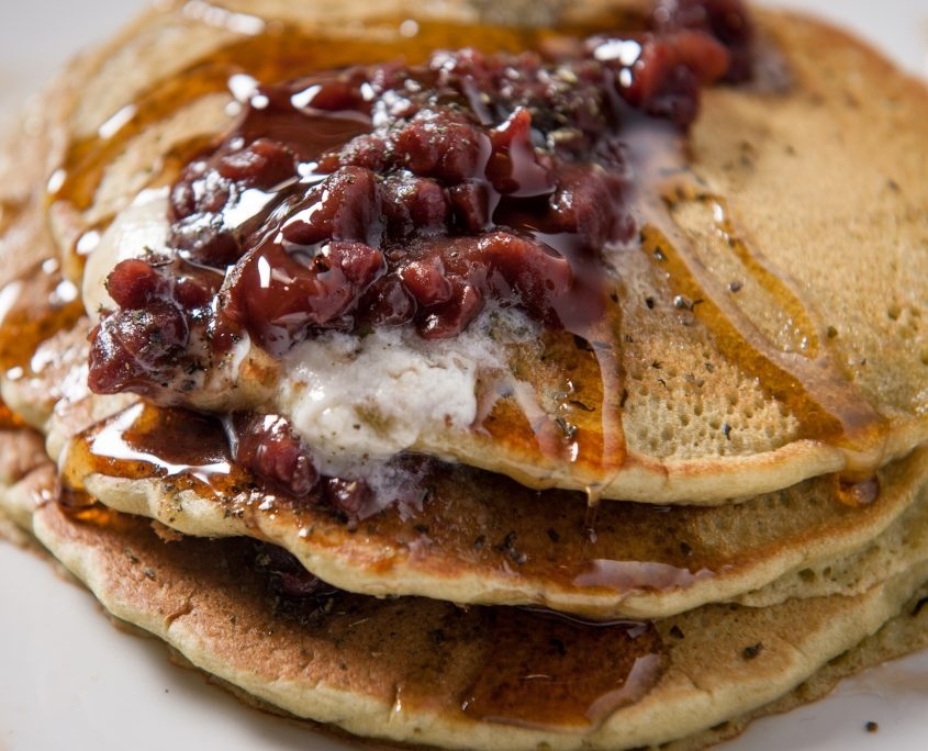 osaka bistro breakfast pancake dish with sweet bean paste and syrup