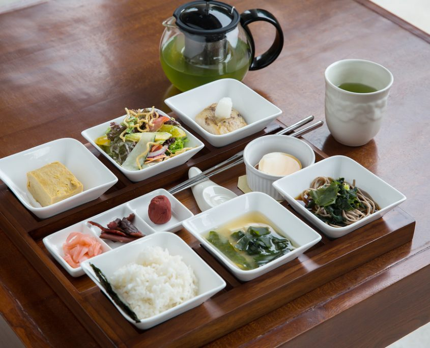 Japanese breakfast in bento box. Top view of classic japanese breakfast