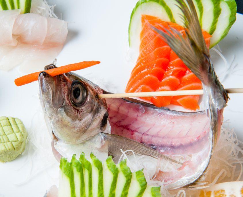 Osaka sashimi aji speared fish indicating fresh and ready to eat