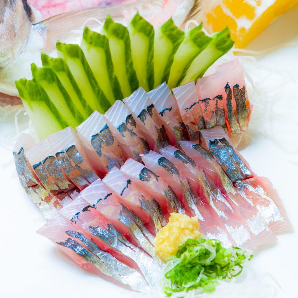 fresh sliced aji sashimi presented by Osaka Japanese Bistro
