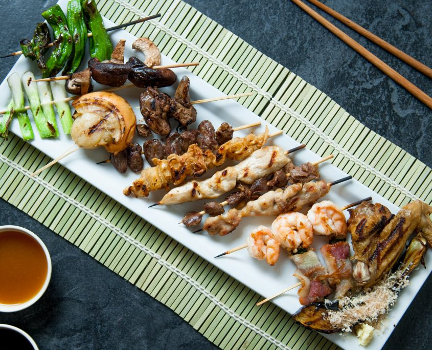 Selection of yakitori skewered chicken served at Osaka Japanese Bistro Henderson NV