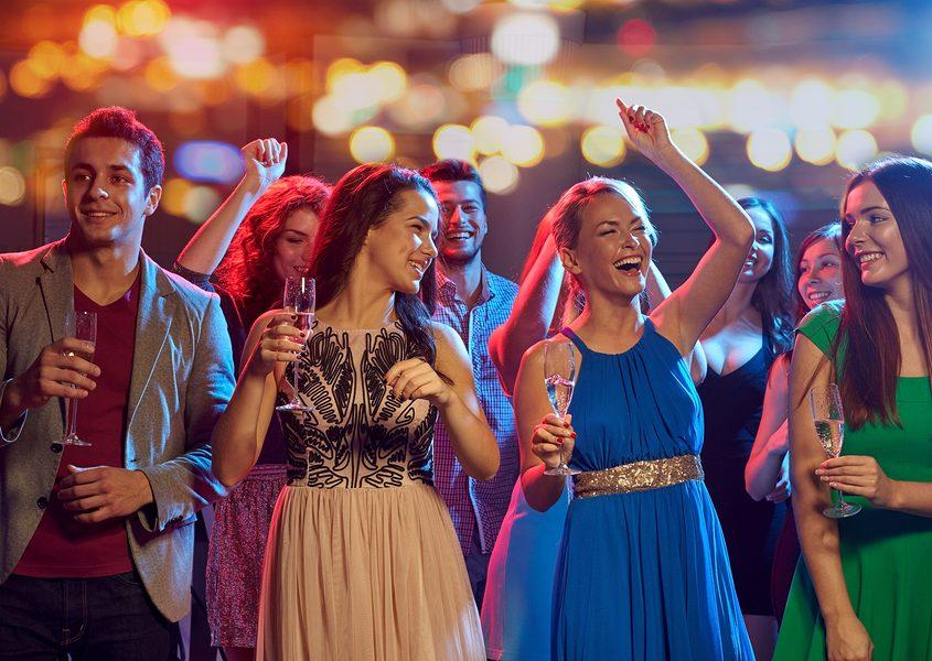 outdoor partiers in Las Vegas celebrating Cinco de Mayo holiday