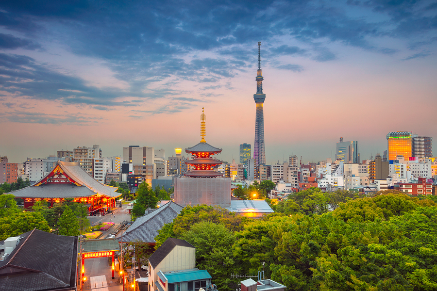 image of Tokyo skyline during twilight in Japan.