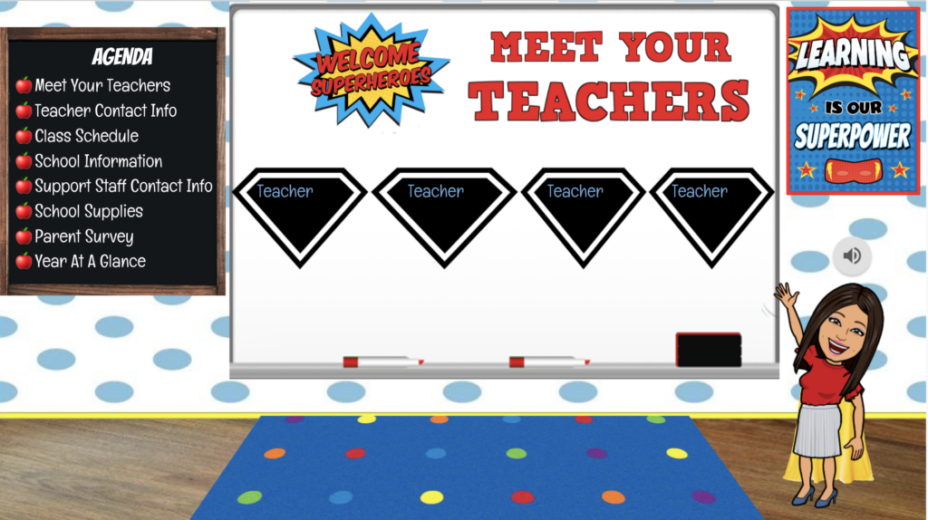 Meet the teacher bitmoji slide preview