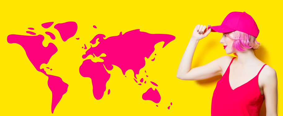 Cool GIS chick with a pink map