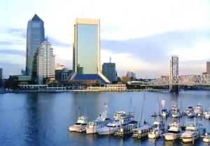 Jacksonville's Skyline overlooking St. John's River and marina