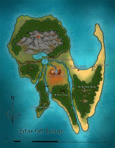 Starfall Island Map - A Star Once Fallen Adventure - Open Legend RPG