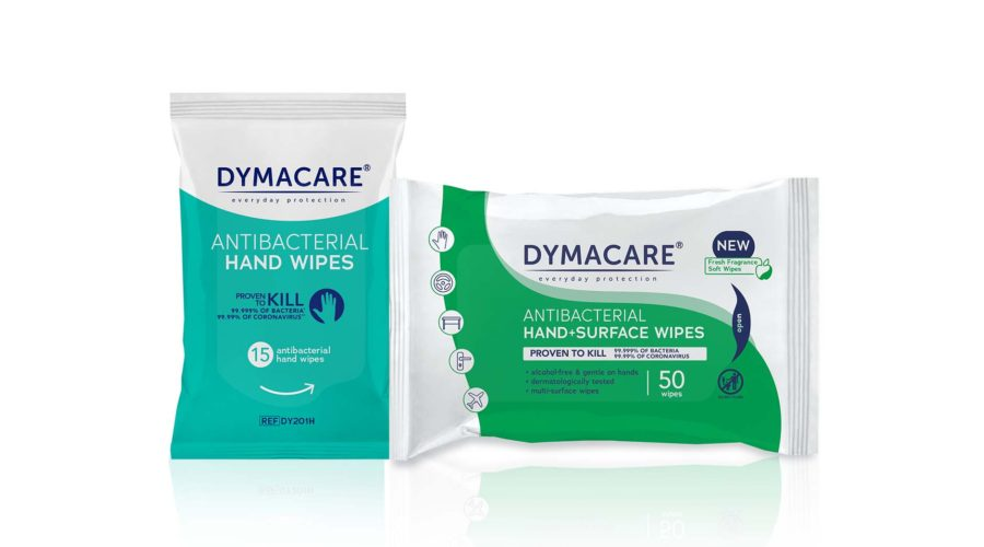 Dymacare® Antibacterial Hand And Surface Wipe Range