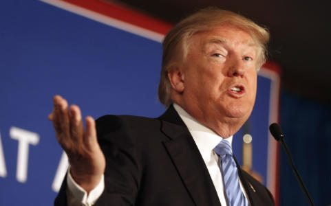 """FILE - In this Jan. 11, 2016 file photo, Republican presidential candidate Donald Trump speaks during a campaign stop in Windham, N.H. President Barack Obama says Donald Trump is waging a White House campaign based on """"simplistic solutions and scapegoating."""" In an interview broadcast Tuesday, Jan. 12, 2016, on NBC's """"Today"""" show, Obama said Trump """"is putting out a message that has had adherents through history."""" (AP Photo/Jim Cole, File)"""