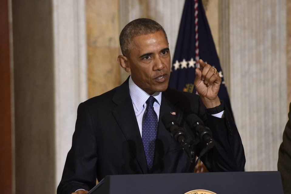 President Barack Obama speaking in Washington Tuesday after meeting with his National Security Council.