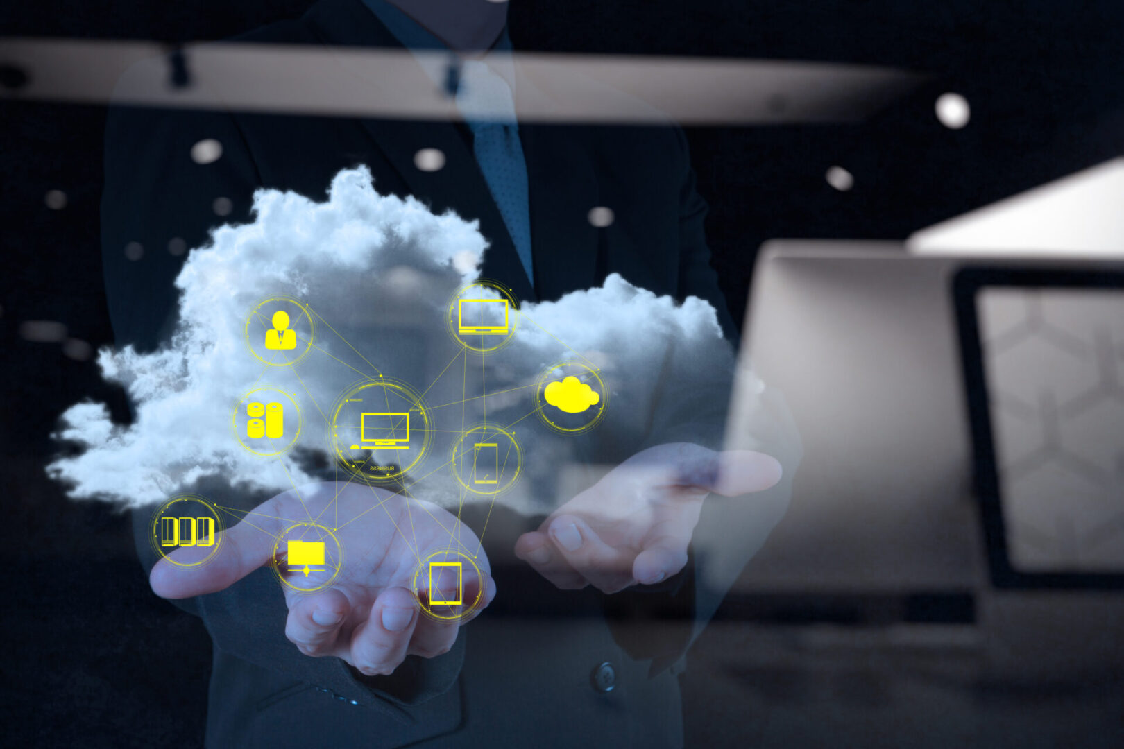 double exposure of Businessman hand working with a Cloud Computing diagram on the new computer interface