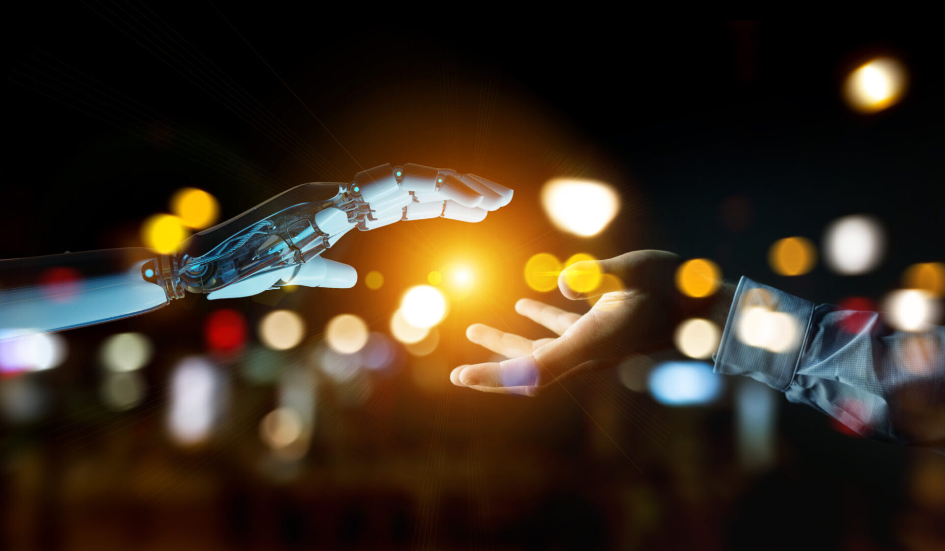 White cyborg hand about to touch human hand on dark background 3D rendering