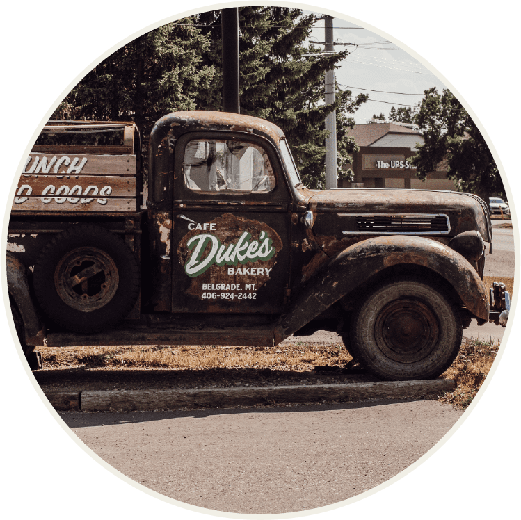 Duke's Cafe and Bakery iconic truck sign