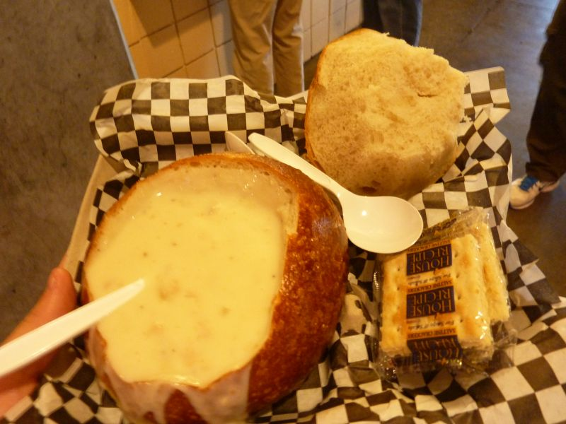 Oracle Park clam chowder in bread bowl