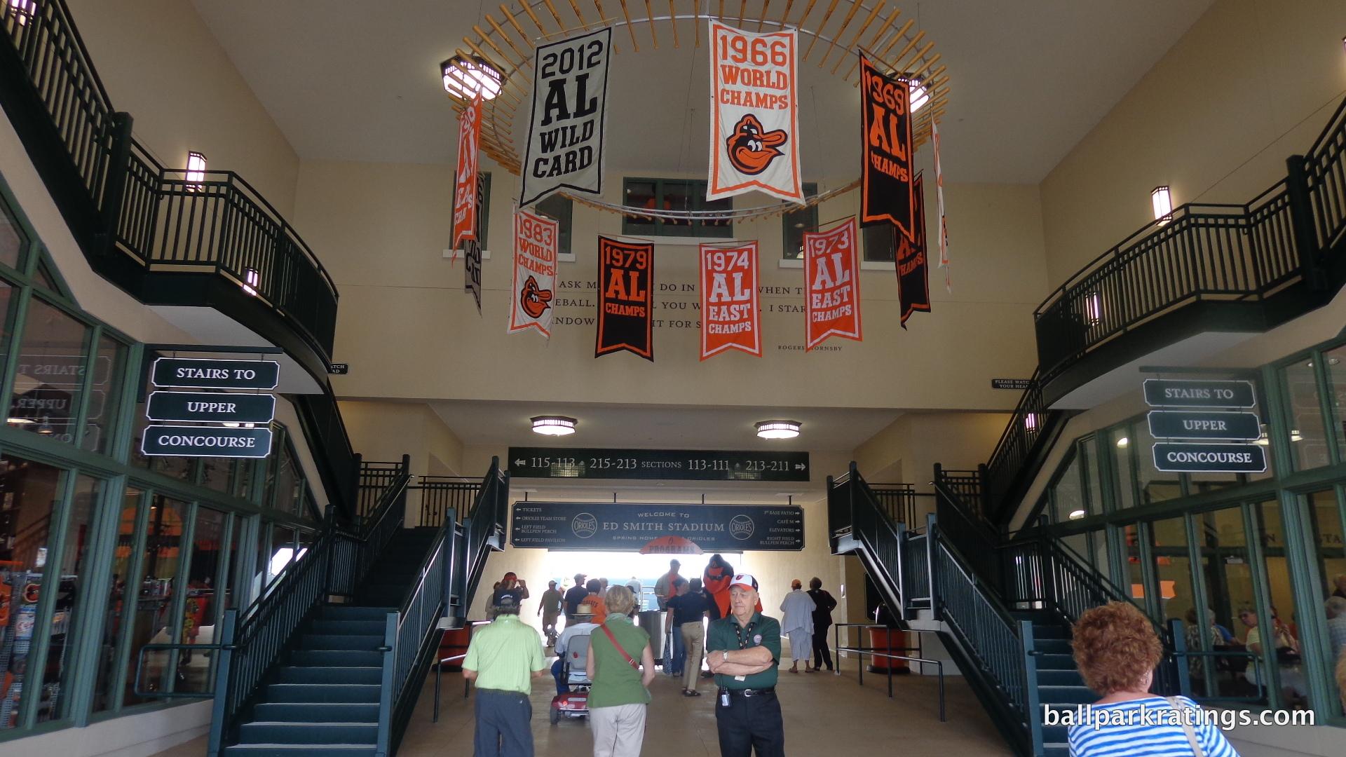 Ed Smith Stadium chandelier.