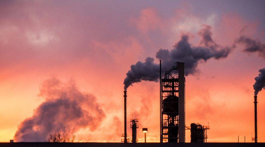 sunset, refinery, industrial