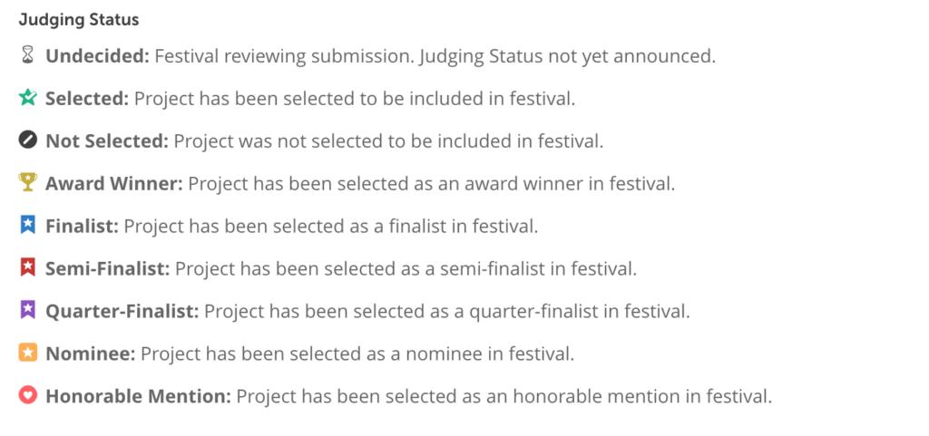 Film Freeway Submission Status