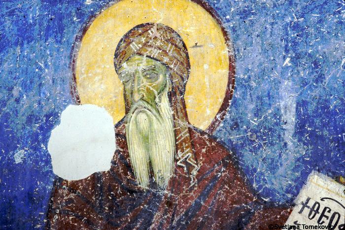 Fresco at Nerezi, Macedonia, with Saint Theophanes Graptos, monk