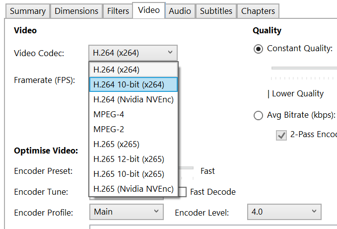 The first step in encoding H.264 is choosing an H.264 codec.