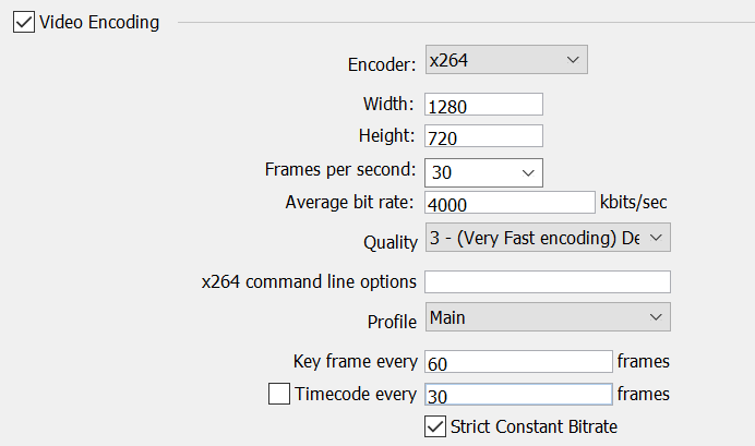 Figure shows common parameters used when encoding H.264.