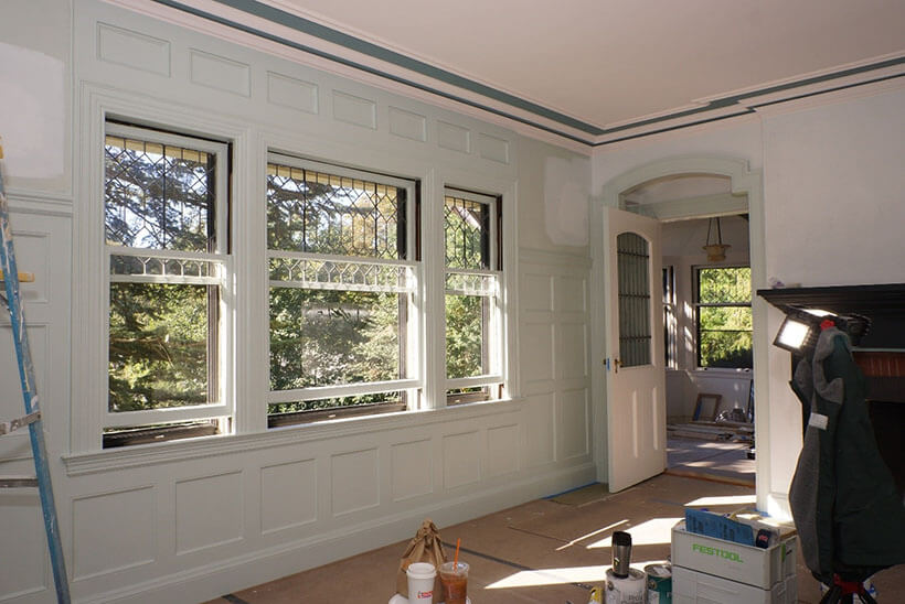 elaborately painted window in historic MA home