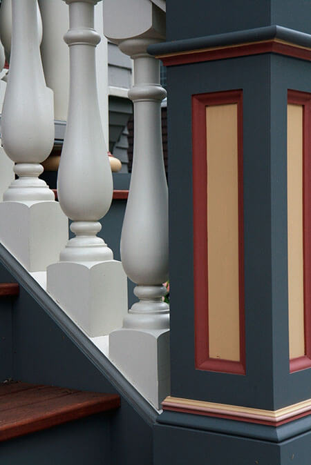 freshly painted porch stairs in brookline, ma