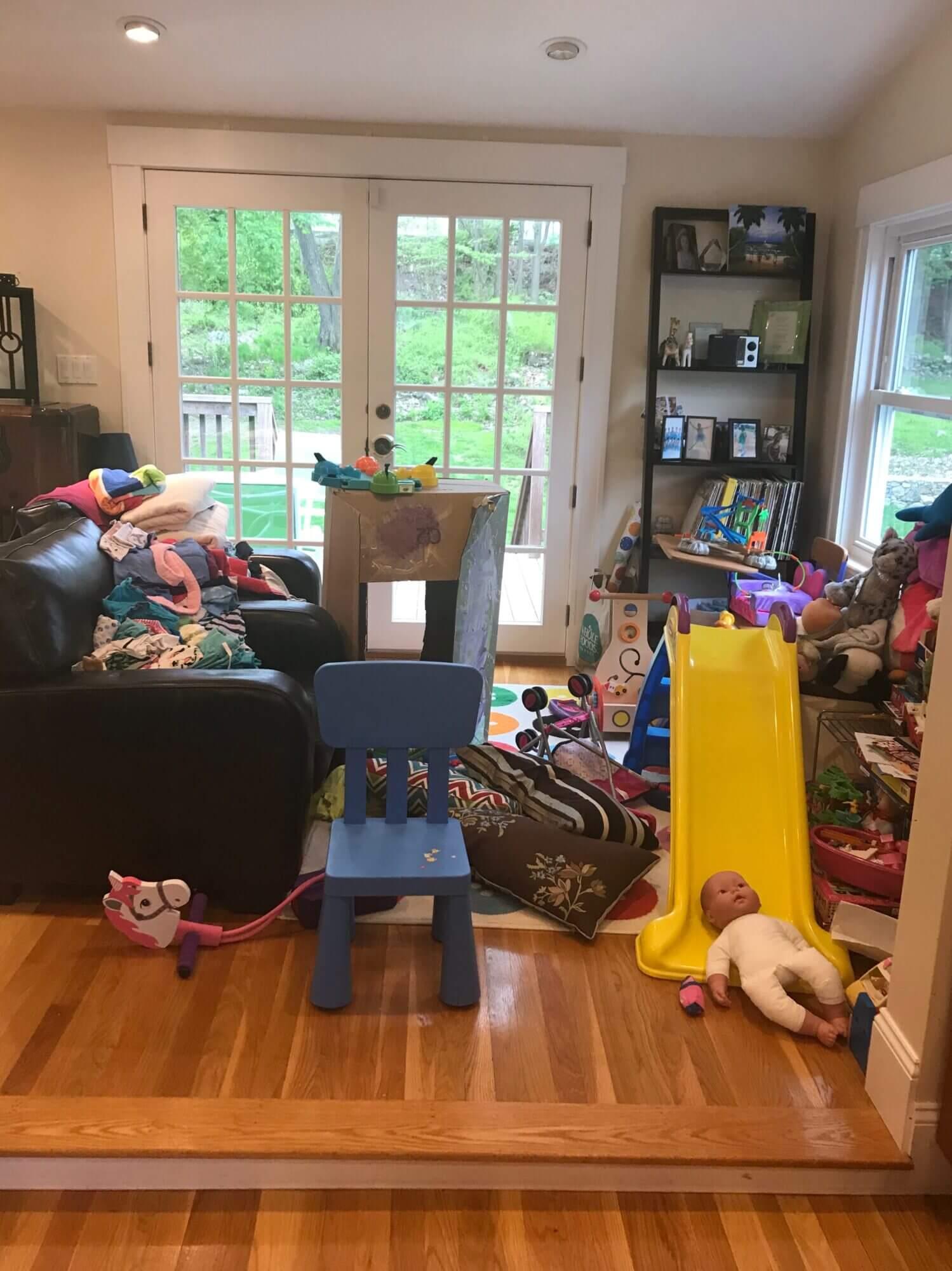 Before photo of disorganized play area