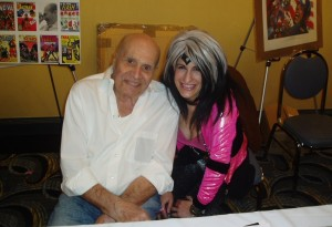 Lynn Julian, Boston musician, as CCG Pop Superhero, with Carmine Infantino (The Flash) at the FIRST Boston Comicon