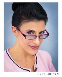 Lynn Julian, Boston Actress, Film Headshot with glasses