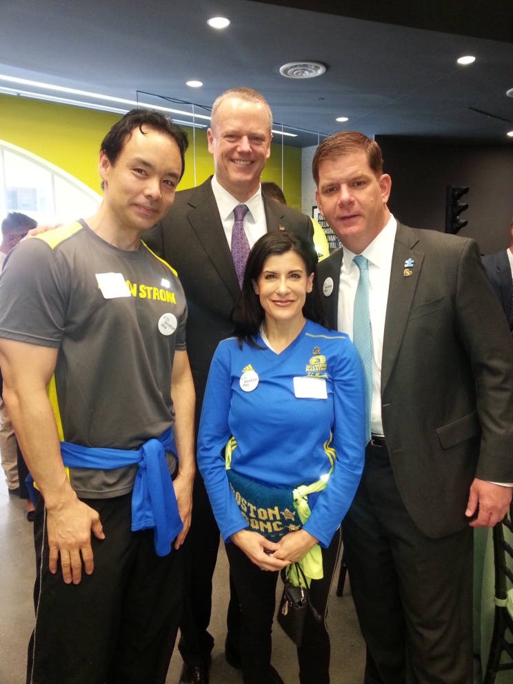 Lynn Julian, Boston Actress and musician, with Massachusetts Governor, Charlie Baker, and Boston Mayor, Marty Walsh