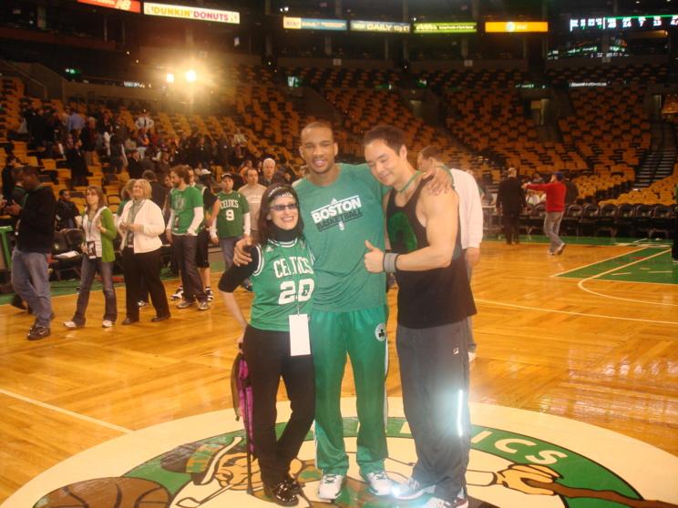 Lynn Julian, Boston Actress, Center Court with Avery Bradley of the Boston Celtics.