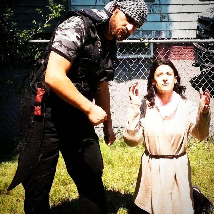 "Lynn Julian, Boston Actress, as Middle Eastern Christian Martyr for film short, ""Liena's Prayer,"""