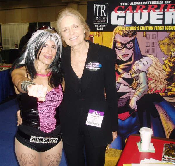 Lynn Julian, Boston Actress and Musician, with feminist activist Gloria Steinem
