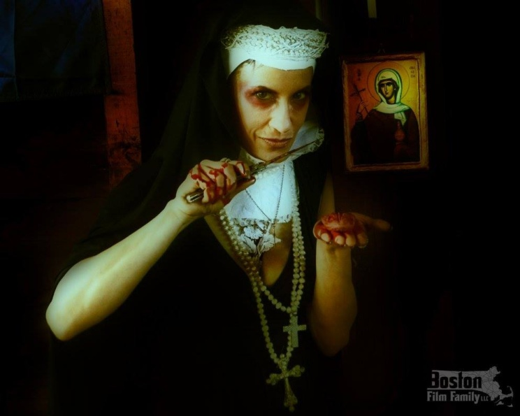 "Lynn Julian, Boston Actress, as the Evil Nun in ""Witch Hunt"""