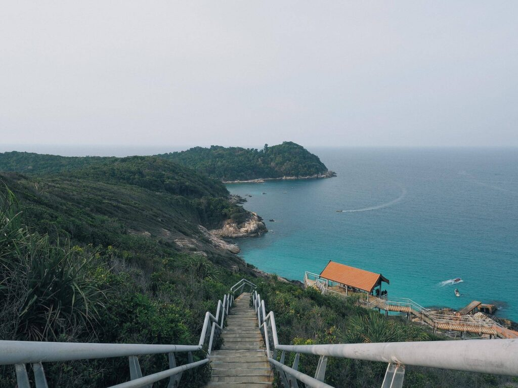 Stairway that leads towards the cove