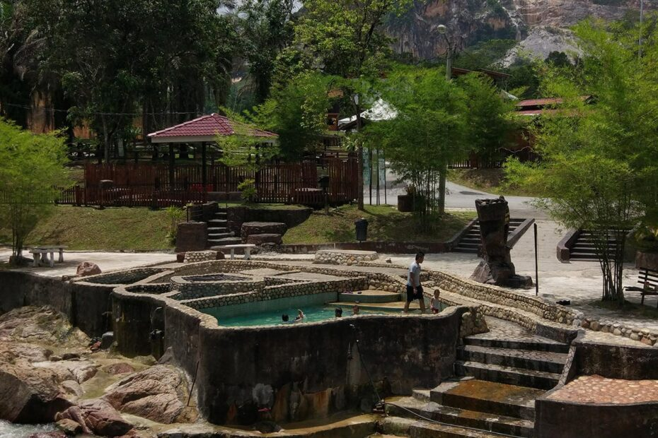 Hot spring just beside the river