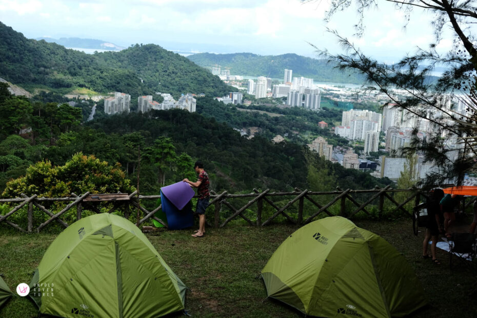 campsite and the view