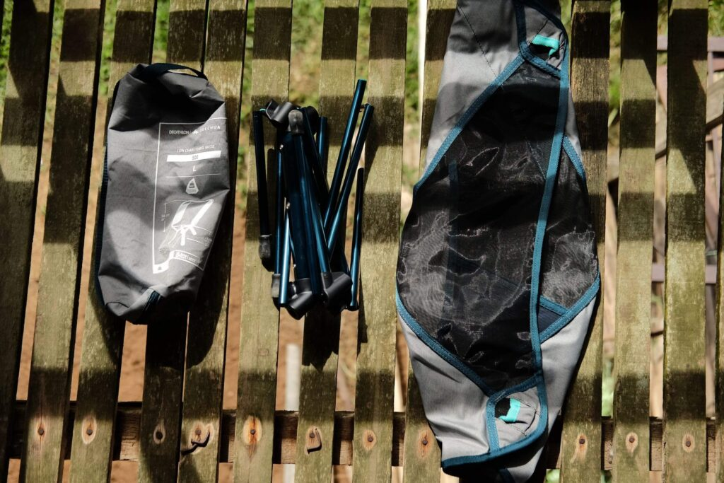 Disassembled camping chair
