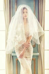 woman-in-brown-tank-bodycon-dress-with-white-veil-standing-157997-682x1024
