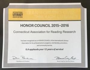 2016 ILA Honor Council Certificate
