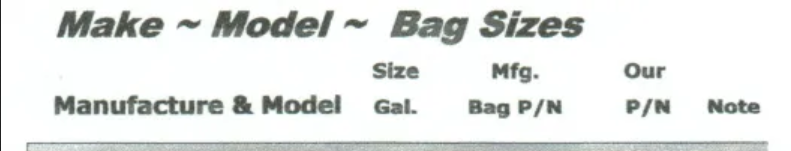 Make, Model, and Bag Sizes by Manufacturer for Solvent Recovery Liners