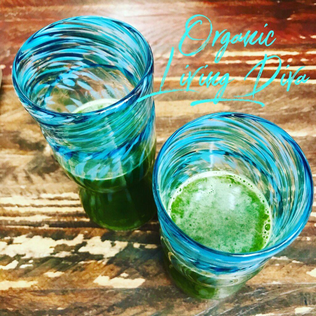 Organic celery cucumber cilantro mint juice