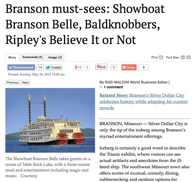 Showboat Branson Belle, Baldknobbers, Ripley's Believe It Or Not