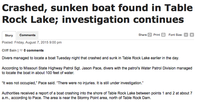 Crashed, sunken boat found in Table Rock Lake