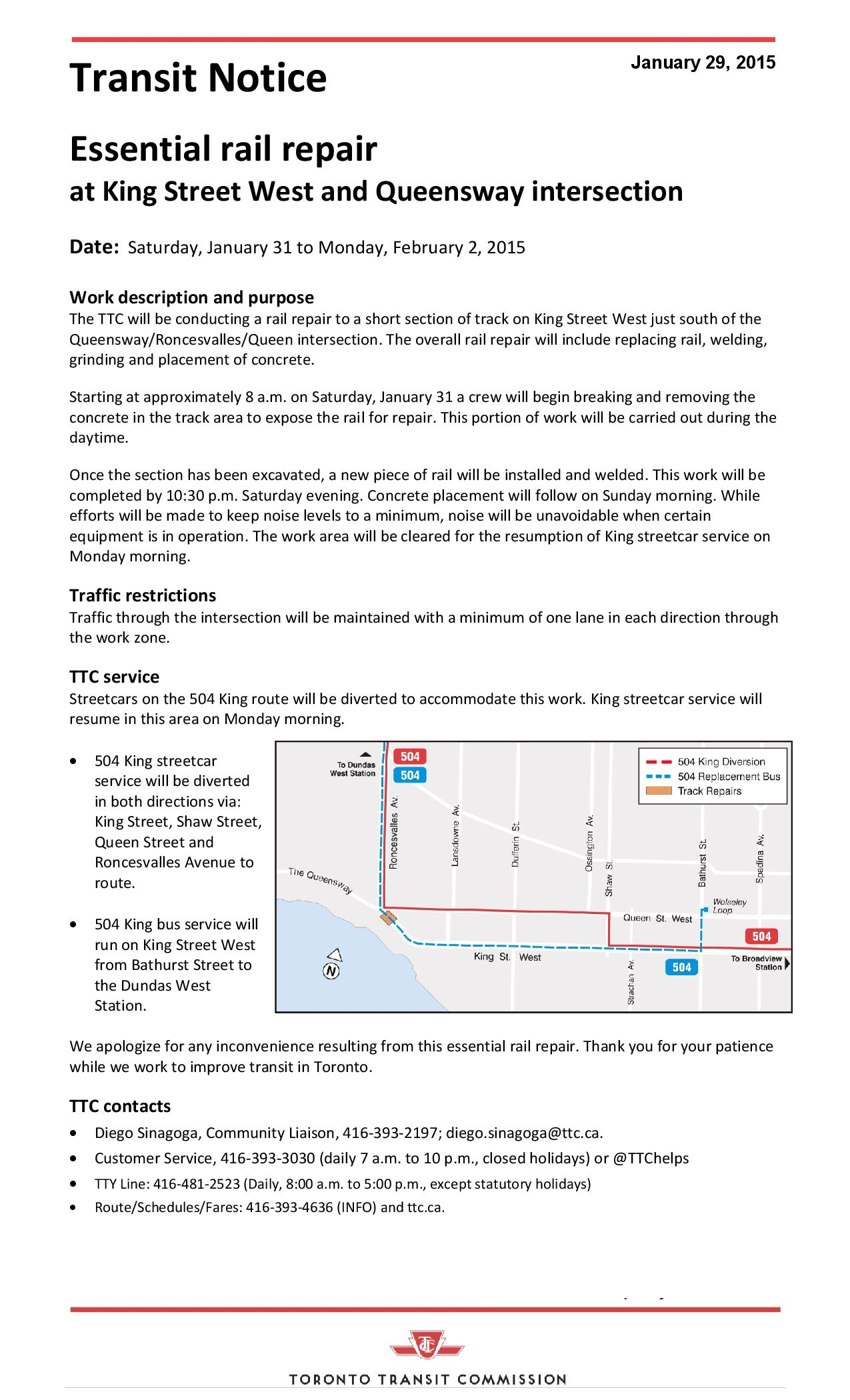 TTC Notice - Weekend track repairat King and Queensway - Jan 31 - Feb 2a-page-001