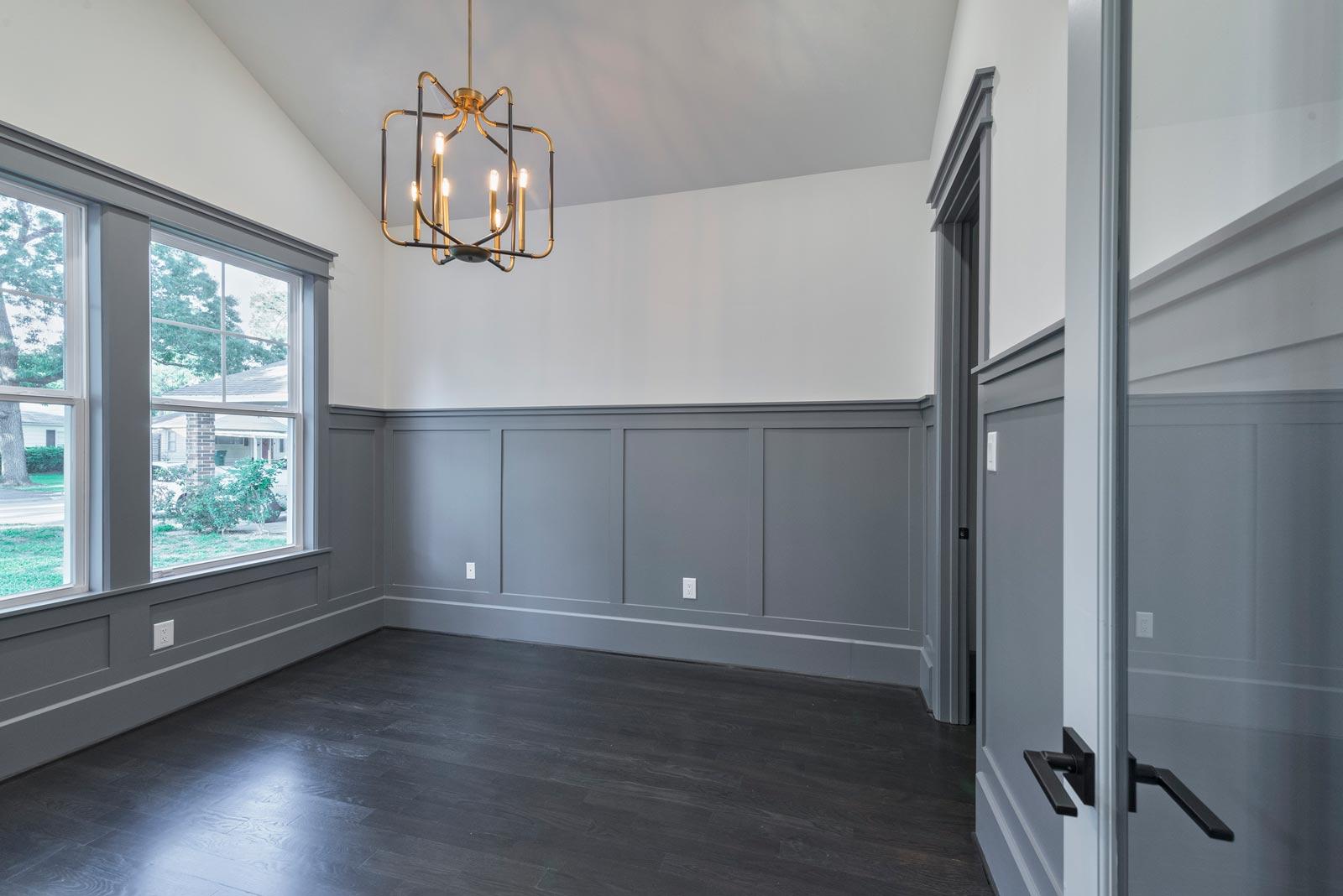 Houston-Homebuilder-Custom-Homebuilder-Central-Houston-Homebuilder-Oak-Forest-Homebuilder-Dark-Gray-Wainscoting-Antique-Gold-and-Black-Chandelier